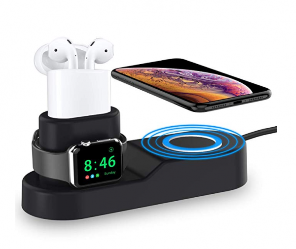 Draadloos 4 in 1 oplaadstation met iphone apple watch earpods en tablet